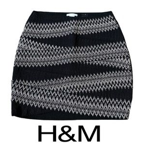 H&M Black White Stretch Bodycon Skirt Womens Small